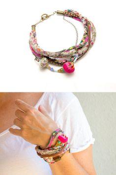 Multicolor cuff Bracelet - boho chic fabric jewelry - textile jewelry - gift idea