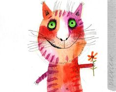 The cat with a flower original painting by ozozo by ozozo on Etsy, €40.00