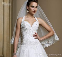New A-Line Lace Tulle 2016 Halter Bridal Gown With Sweetheart Neckline Swarovski Crystal Accents Custom Size Wedding Dress A-Line Wedding Dresses Custom Size Dress 2016 Bridal Gown Online with $241.14/Piece on Yahuifang2016's Store | DHgate.com