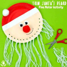 Trim The Beard Paper Plate Santa Craft is so cute and lets kids develop their fine motor cutting skills. A fun educational Christmas craft for preschoolers. Preschool Christmas Crafts, Christmas Crafts For Kids To Make, Santa Crafts, Christmas Activities, Kids Christmas, Diy Crafts For Kids, Christmas Doodles, Christmas Couple, Christmas Scenes