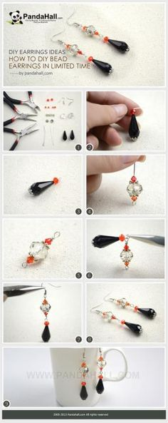 Using two large focal beads and three small ones work as paving elements, learn to diy bead earrings in very limited time. Thus, for the novices, I recommend the diy earrings ideas. by janet