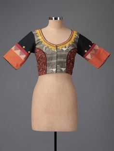 Grey-Maroon Printed Cotton Blouse with Embroidery
