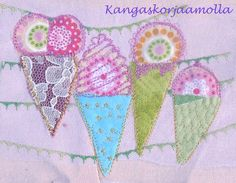 Tilkkukortti Quilting art http://kangaskorjaamolla.blogspot.fi/2015/10/pienista-ja-viela-pienemmista-tilkuista.html