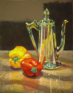 """Reflections on a Silver Pot   11x14""""     Soft pastels on paper. ©Jude Tolar"""