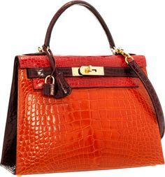 Hermes Special Order 28cm Shiny Braise, Orange H & Bordeaux Alligator Sellier Kelly Bag with Gold Hardware