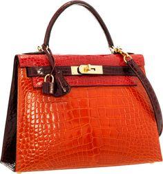 Hermes Special Order 28cm Shiny Braise, Orange H & Bordeaux Alligator Sellier Kelly Bag with Gold Hardware