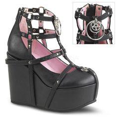Pentagram Caged Wedge Ankle Bootie by Demonia Footwear - in black