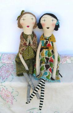 poupée de chiffon, deux poupées chiffon, dames
