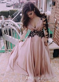 Wholesale Pink Evening Dresses - Buy Sheer Long Sleeves Evening Dresses Sexy Deep V Neck A Line Chiffon Skin Pink with Black Appliques Lace Up Back Women Formal 2015 Prom Gowns, $130.06 | DHgate