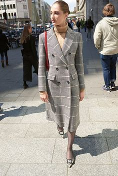 Il Cappotino checked cooat, Allude jumper in sand, red Celine bag by Hedi Slimane, Manolo Blahnik leo pumps Balenciaga, Fendi, Valentino, Saint Laurent, Celine Bag, Fall Winter, Autumn, Dress Up, Shirt Dress