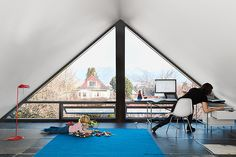 A playroom and office in an attic
