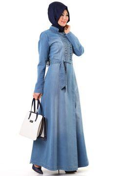 02e975977b2fc8 Elegant Denim Abaya Fashion for Muslim Ladies – Girls Hijab Style   Hijab  Fashion Ideas Abaya