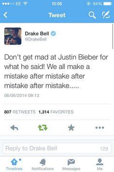 Oh No more Justin Bieber! Drake Bell Tweet