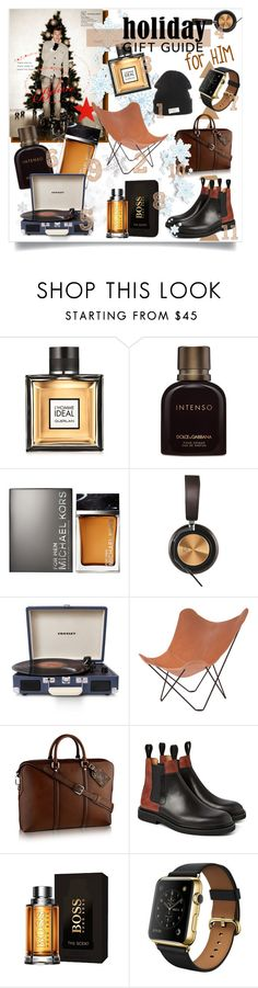 """""""Holiday Gift Guide: For Him"""" by xaoimai ❤ liked on Polyvore featuring interior, interiors, interior design, home, home decor, interior decorating, Guerlain, Dolce&Gabbana, Michael Kors and B&O Play"""