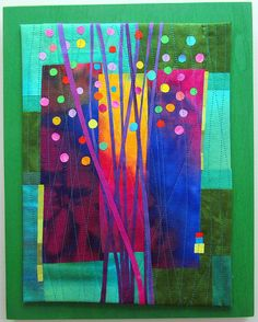 Budding Hand dyed silks and cottons, fused, machine quilted and mounted on painted wood panel. by Melody Johnson Quilts Colorful Quilts, Small Quilts, Mini Quilts, Quilting Projects, Quilting Designs, Tree Quilt, Quilt Art, Quilt Modernen, Miniature Quilts