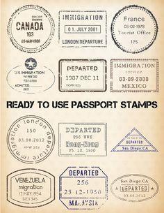 Vintage passport stamps rnrnSource by hernamewasjoy Passport Template, Passport Stamps, Travel Stamp, Travel Cards, Foto Transfer, Tourist Office, Road Trip Essentials, Vintage Tags, Vintage Diy