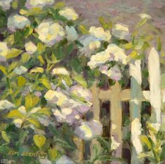 Hydrangea and White Picket Fence by Kim Stenberg, Oil, 8 x 8 Hydrangea Painting, Garden Painting, Diy Painting, White Picket Fence, Picket Fences, Fence Art, Impressionist Paintings, Beautiful Paintings, Painting Inspiration
