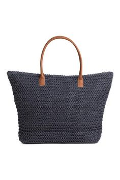 Shopper: Soft straw bag with two imitation leather handles and a zip at the top and two inner compartments. Lined. Women's Accessories, Ibiza 2016, H&m Online, Holiday Fashion, Leather Handle, Louis Vuitton Damier, Straw Bag, Fashion Online, Tote Bag