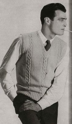 PDF of Mens Sweater Vest Knitting Pattern, Sz 38, 40, 42 via Etsy
