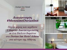 Μόλις συμμετείχα στο διαγωνισμό #MenoumeDorianInn για να κερδίσω 2 δωρεάν διανυκτερεύσεις σε ένα δίκλνο δωμάτιο στο ξενοδοχείο Dorian Inn Hotel Athens, στο κέντρο της Αθήνας. Πάρε μέρος κι εσύ τώρα!