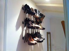 Shoe rack on wall ;)