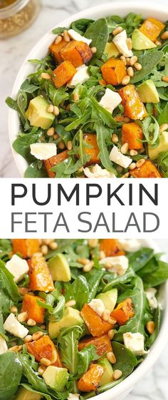 Roasted Butternut Squash Salad Pumpkin Avocado Feta Salad – a tasty combination of roasted butternut squash, creamy avocado, sharp lemony feta & topped with crunchy pine nuts and arugula. Pumpkin And Feta Salad, Roast Pumpkin Salad, Healthy Salad Recipes, Vegetarian Recipes, Feta Salat, Squash Salad, Roasted Butternut Squash, Easy Salads, Bbq Salads