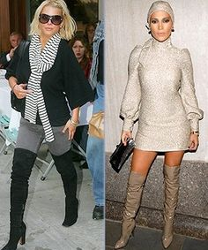 Jessica Simpson and Jennifer Lopez show that you can get away with a variety of thigh-high looks, as long as you pay attention to proportions. Jessica wears an ample black sweater and grey jeans with her suede boots, while J. Lo shows off her toned thighs while covering up everywhere else. #fashion #styletips #celebrities