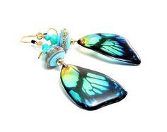 Blue Butterfly Earrings. Long Dangle Earrings. Lampwork Bead