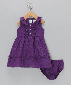 Take a look at this Purple Ruffle Sundress & Diaper Cover  - Infant by Baby Togs on #zulily today!