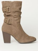 Womens Taupe 'Katherine' Slouch Boots- White