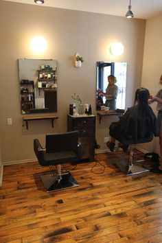Custom Salon Furniture Made By Brooklyn Reclamation For Little Axe Salon.  Wall Shelving Made Of