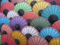 Umbrellas for sale at Luang Prabang market, Laos