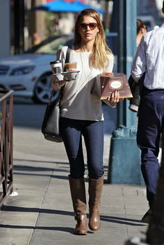 34 Unparalleled Street-Style Looks Courtesy of Jessica Alba: Even on a casual coffee run in LA, Jessica looked stylish in brown riding boots, a black Bulgari bag, and tortoise sunglasses.