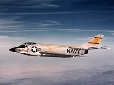"Navy McDonnell Demon (BuNo of Fighter Squadron 124 ""Moonshiners"" in flight. was assigned to Carrier Air Group 12 aboard the aircraft carrier USS Lexington for a deployment to the Western Pacific from 19 April to 17 October Us Navy Aircraft, Us Military Aircraft, Military Jets, Fighter Aircraft, Fighter Jets, Goblin, Uss Lexington, Reactor, Mustang"
