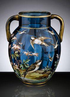 Nice....Antique Glass, Art Glass, Moser, Bohemian Glass Vase  M.S. Rau Antiques