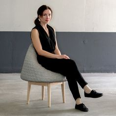 Véronique Baer's Bounce is a conic foam sculpture which transforms into a soft and comfortable chair the moment someone sits on it.
