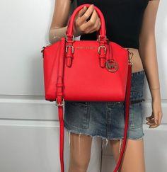 3bc2c83498f NWT Michael Kors Ciara Saffiano Leather Medium Messenger Handbag Dark  Sangria