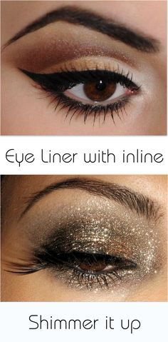 Eye make up tips for brown eyed people- ( I' pinning it more so just as a thumbnail for my idea of googling brown eyed celebs and just stealing their makeup look. You have to be careful with that amount of glitter on eyes. It must be cosmetic grade in case it falls into your eyes )