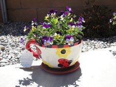 Garden Party Baby Shower favor.  I found the super cute tea cup planters at Michaels.