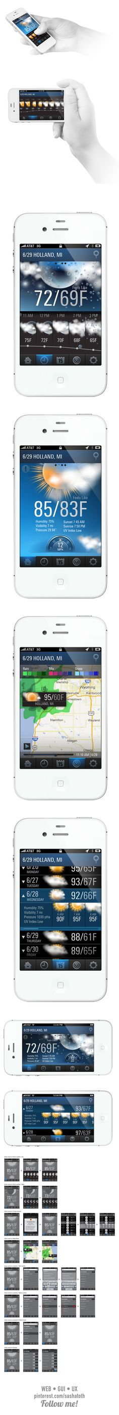 Weather App for iPhone *** This weather application concept for iPhone was developed by Tiger Studio to provide a simple but beautiful interface for any user level. In a world where weather conditions are changing moment to moment, it's important to have a good and reliable assistant. by Yana Foltice, via Behance