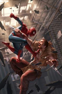 Spider-Man Vs Kraven by Jenggeun Yoon - Marvel Comics Comic Book Artwork Marvel Dc, Marvel Comics Art, Marvel Heroes, Rogue Comics, Amazing Spiderman, All Spiderman, Spiderman Tattoo, Spiderman Drawing, Batman