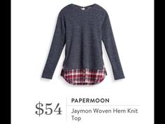 Love these crew neck knit tops with a plaid woven hem.