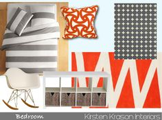 Color inspiration for Stockton's new room. Gray and Orange.