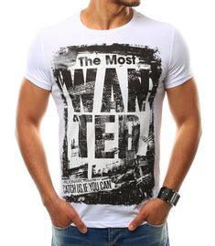 Biele pánske tričko T-shirt s potlačou. Vyrobené z mäkkého, na dotyk príjemného materiálu. Pohodlný strih. Hit pre nadchádzajúcu sezónu. Vhodné na akúkoľvek príležitosť.