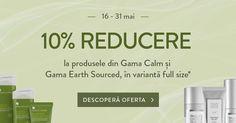 🌿 În perioada 16 - 31 mai, ai 10% REDUCERE la produsele din Gama Calm și Gama Earth Sourced, în variantă full size. Descoperă oferta! *Reducerea de 10% nu este valabilă pentru mostre sau mini produse și nu se cumulează cu alte promoții.
