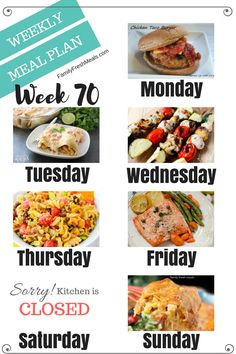 Weekly Meal Plan Week 70 Welcome back to another easy weekly meal plan week!Welcome back to another easy weekly meal plan week! Planning Menu, Family Meal Planning, Planning Budget, Planning Board, Easy Weekly Meals, Quick Meals, Weekly Menu, Monthly Menu, Meal Prep Plans
