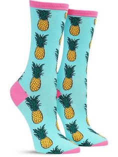 awesome pineapple food socks by socksmith in wintergreen
