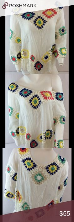 """GORGEOUS Crochet Top Simply stunning design! This looks like a Spell design but it's not! Get the SPELL look for a fraction of the price❤️ I bought 2 of these and had to keep one! Wear a nude bra under it and ur good to go! Throw on with jeans, shorts, or skirt and it's so head turning! ❤️LOVE THIS❤️ tag says size M but this could fit M/L/XL it's so flowy! Measurements approx: S2S: 17"""" P2P: 21"""" S2H(side) 21"""" (with fringe)(w/o is 17"""") waist: 21"""" S2W: 19"""". ❤️price firm unless bundled❤️ please…"""