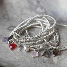 Gorgeous sterling silver mini rings bracelet available with a selection of charms This very wearable bracelet is so pretty and would make a fantastic