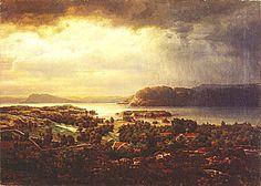 hertervig   Fra Borgøya 2) Sommerlandskap i tordenvær 3) Fjordbunn 4) Fra ...